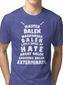Master Dalek ('Soft Kitty' style) WHITE Tri-blend T-Shirt