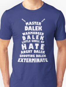 Master Dalek ('Soft Kitty' style) WHITE Unisex T-Shirt