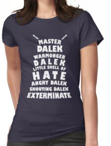 Master Dalek ('Soft Kitty' style) WHITE Womens Fitted T-Shirt