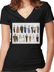 Downton Abbey portraits Women's Fitted V-Neck T-Shirt