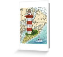 Hilton Head Lighthouse SC Nautical Chart Peek Greeting Card