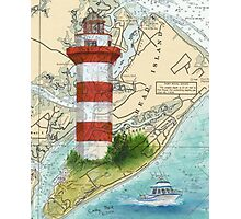 Hilton Head Lighthouse SC Nautical Chart Peek Photographic Print