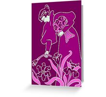 Lady with flowers modern art nouveau purple Greeting Card