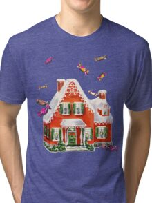 retro candy gingerbread house ugly Christmas Sweater Tri-blend T-Shirt