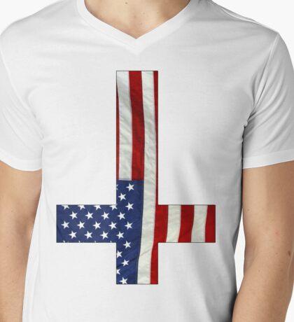Inverted Cross-America Mens V-Neck T-Shirt