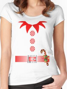 cute cartoon merry christmas elf costume Women's Fitted Scoop T-Shirt
