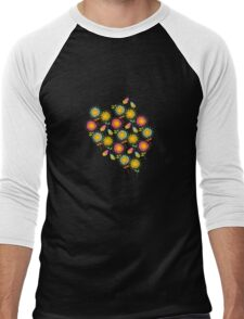 Colorful daisies with butterflies Men's Baseball ¾ T-Shirt