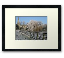 A cold and frosty morning in Brompton village near Scarborough. Framed Print