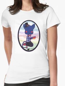 Blue Kitty Drinking Tea Womens Fitted T-Shirt