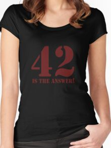 42 is the answer Women's Fitted Scoop T-Shirt