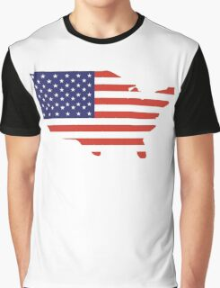 American Flag, Country Outline, America, Americana, Stars & Stripes, USA, Pure & Simple Graphic T-Shirt