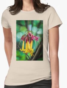 Hanging Flowers with Green Bokeh Womens Fitted T-Shirt