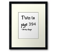 Turn to Page 394 Severus Snape Harry Potter Framed Print