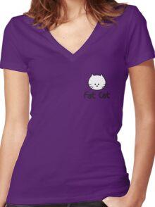 Pequeño Fat Cat Women's Fitted V-Neck T-Shirt