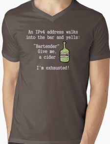 An IPv4 walks into a bar.  Mens V-Neck T-Shirt