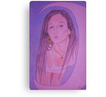 Beautiful woman, Crescent moon. Canvas Print