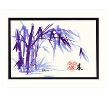 Now and Zen - Original Plein Air Bamboo drawing/painting at Huntington Library and Gardens Art Print