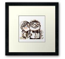 Carl and Ellie kiss Framed Print
