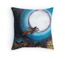 FLYING HARE Throw Pillow
