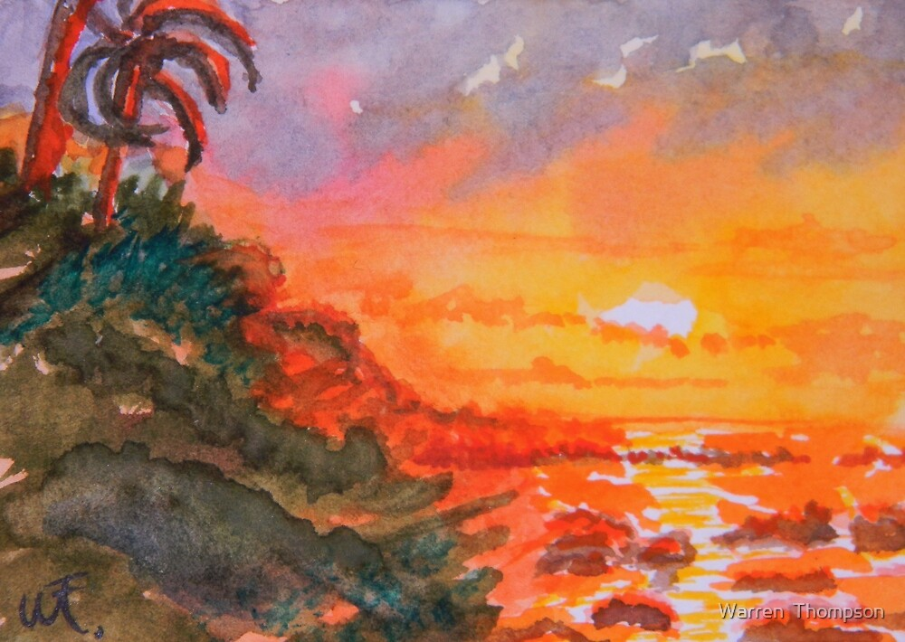 Galapagos Sunset 2 by Warren  Thompson