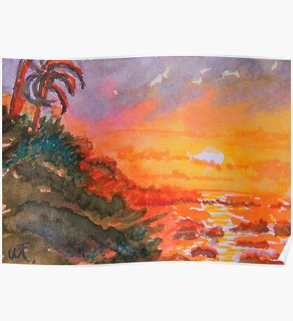 Galapagos Sunset 2 Poster