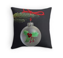 Hand Painted Holly Throw Pillow