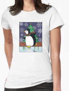 Penguin Skate Womens Fitted T-Shirt