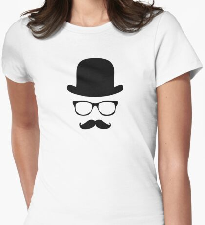 Mustache and Hat Womens Fitted T-Shirt