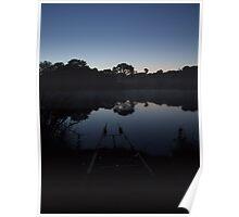 Carp Fishing at Dawn Poster