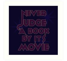 Never Judge A Book By Its Movie (Purple on Blue) Art Print