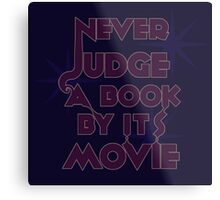 Never Judge A Book By Its Movie (Purple on Blue) Metal Print