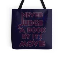 Never Judge A Book By Its Movie (Purple on Blue) Tote Bag
