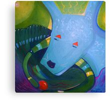 Blue Dog with Orange Ball Canvas Print