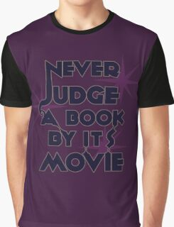 Never Judge A Book By Its Movie (Blue on Purple) Graphic T-Shirt