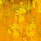 Grunge abstract botanical pattern yellow iris motif by Mariannne Campolongo