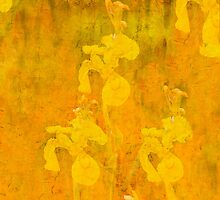 Grunge abstract botanical pattern yellow iris motif by Mariannne Campolongo