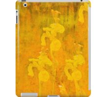 Grunge abstract botanical pattern yellow iris motif iPad Case/Skin