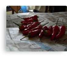 Drying Peppers Canvas Print