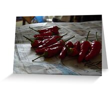 Drying Peppers Greeting Card
