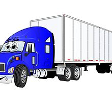 Semi Truck Blue White Trailer by Graphxpro