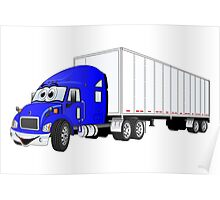 Semi Truck Blue White Trailer Poster