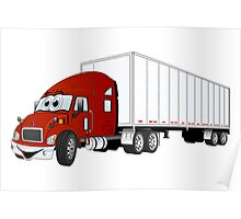 Semi Truck Red White Trailer Poster