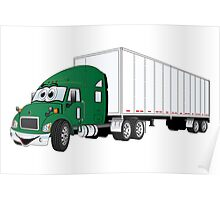 Semi Truck Green White Trailer Poster