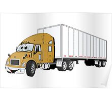 Semi Truck Gold White Trailer Poster