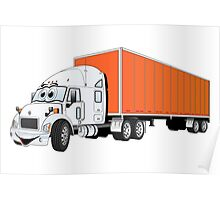 Semi Truck White Orange Trailer Poster