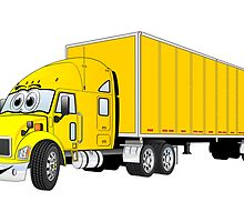 Semi Truck Yellow Trailer Cartoon by Graphxpro