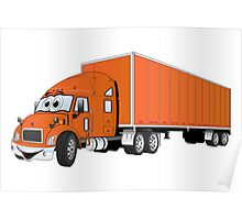 Semi Truck Orange Trailer Cartoon Poster