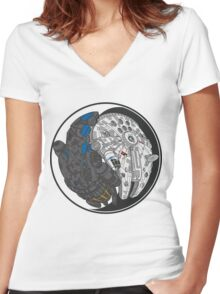 Sci-Fi Yin Yang Women's Fitted V-Neck T-Shirt