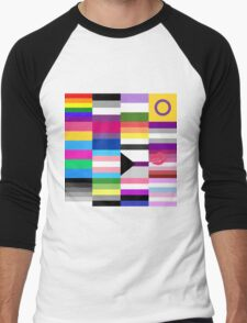 LGBT Pride Flags Collage Men's Baseball ¾ T-Shirt