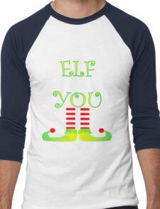 Cute Funny Christmas Elf Legs Elf You Men's Baseball ¾ T-Shirt